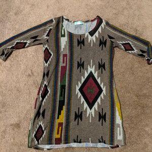 Sweater dress. Tunic. Aztec print